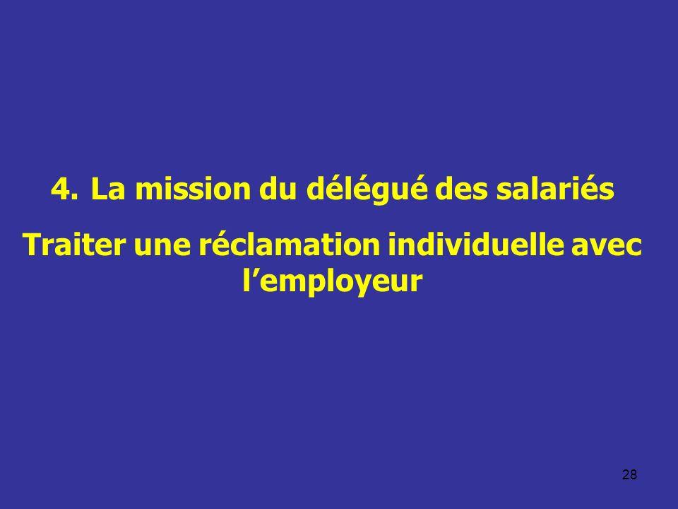 28 4. La mission du délégué des salariés Traiter une réclamation individuelle avec lemployeur