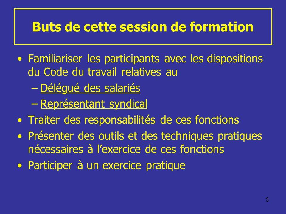 3 Buts de cette session de formation Familiariser les participants avec les dispositions du Code du travail relatives au –Délégué des salariés –Représ