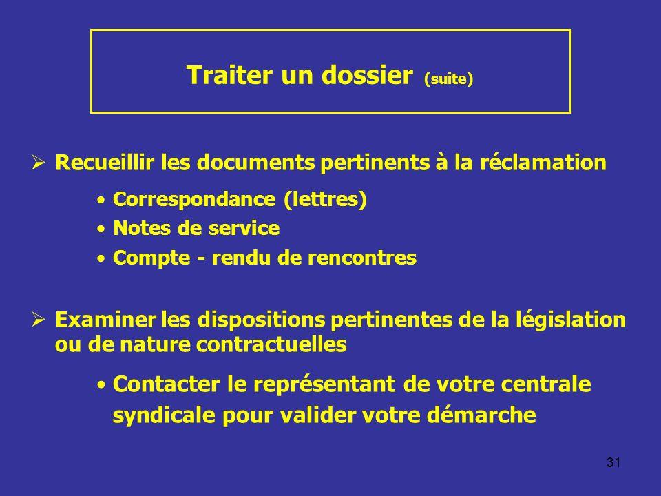 31 Traiter un dossier (suite) Recueillir les documents pertinents à la réclamation Correspondance (lettres) Notes de service Compte - rendu de rencont
