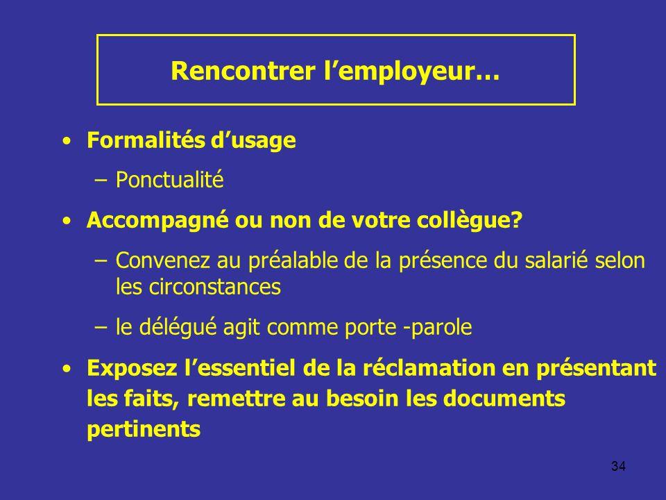 34 Rencontrer lemployeur… Formalités dusage –Ponctualité Accompagné ou non de votre collègue? –Convenez au préalable de la présence du salarié selon l
