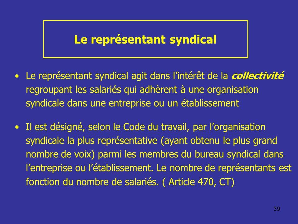 39 Le représentant syndical Le représentant syndical agit dans lintérêt de la collectivité regroupant les salariés qui adhèrent à une organisation syn
