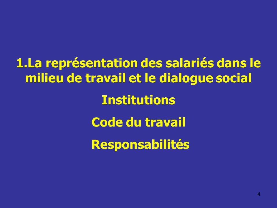5 Dialogue social Le système des relations professionnelles sappuie notamment sur lexpression des partenaires sociaux dans la société et dans le milieu de travail Cest le fondement du dialogue social Cela renvoie à des concepts tels que –La représentation individuelle et collective –La consultation –La participation