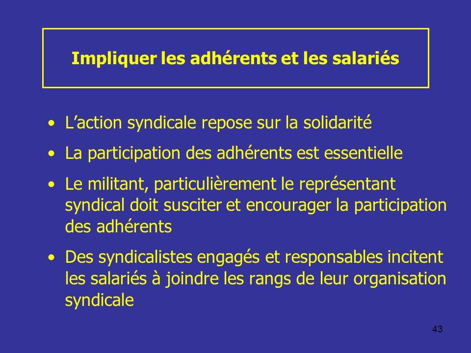 43 Impliquer les adhérents et les salariés Laction syndicale repose sur la solidarité La participation des adhérents est essentielle Le militant, part