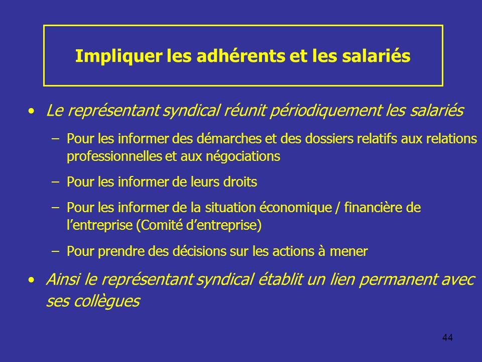 44 Impliquer les adhérents et les salariés Le représentant syndical réunit périodiquement les salariés –Pour les informer des démarches et des dossier