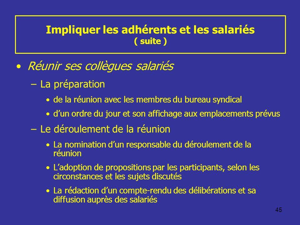 45 Impliquer les adhérents et les salariés ( suite ) Réunir ses collègues salariés –La préparation de la réunion avec les membres du bureau syndical d