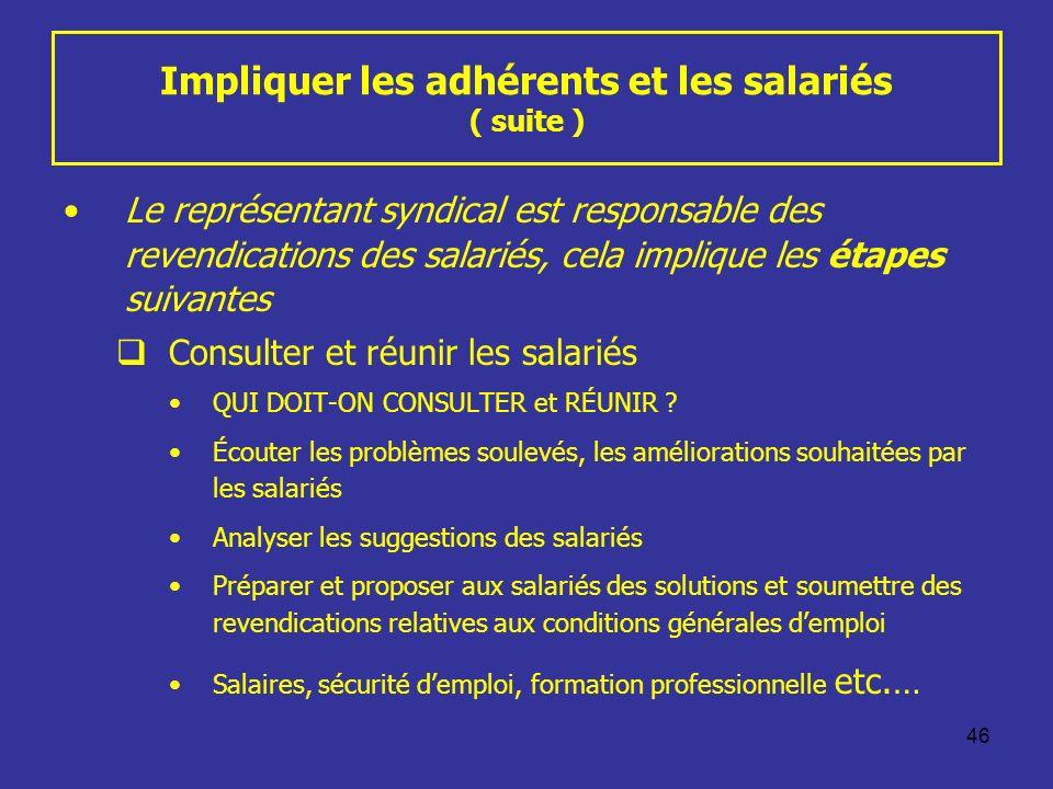 46 Impliquer les adhérents et les salariés ( suite ) Le représentant syndical est responsable des revendications des salariés, cela implique les étape
