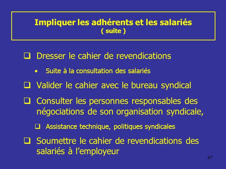 47 Impliquer les adhérents et les salariés ( suite ) Dresser le cahier de revendications Suite à la consultation des salariés Valider le cahier avec l