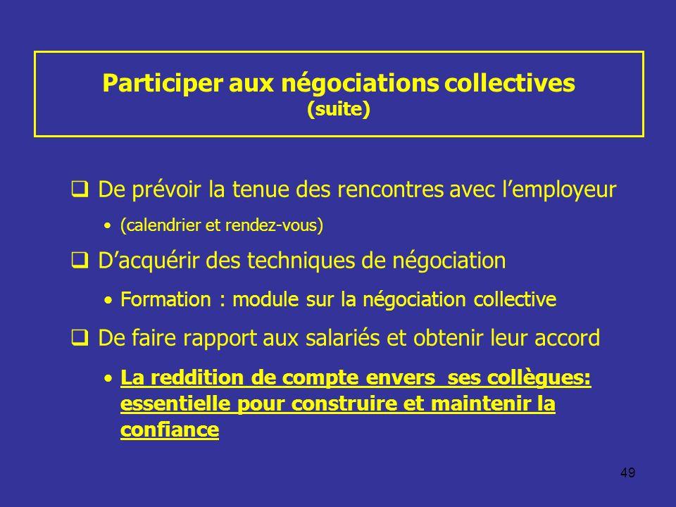 49 Participer aux négociations collectives (suite) De prévoir la tenue des rencontres avec lemployeur (calendrier et rendez-vous) Dacquérir des techni
