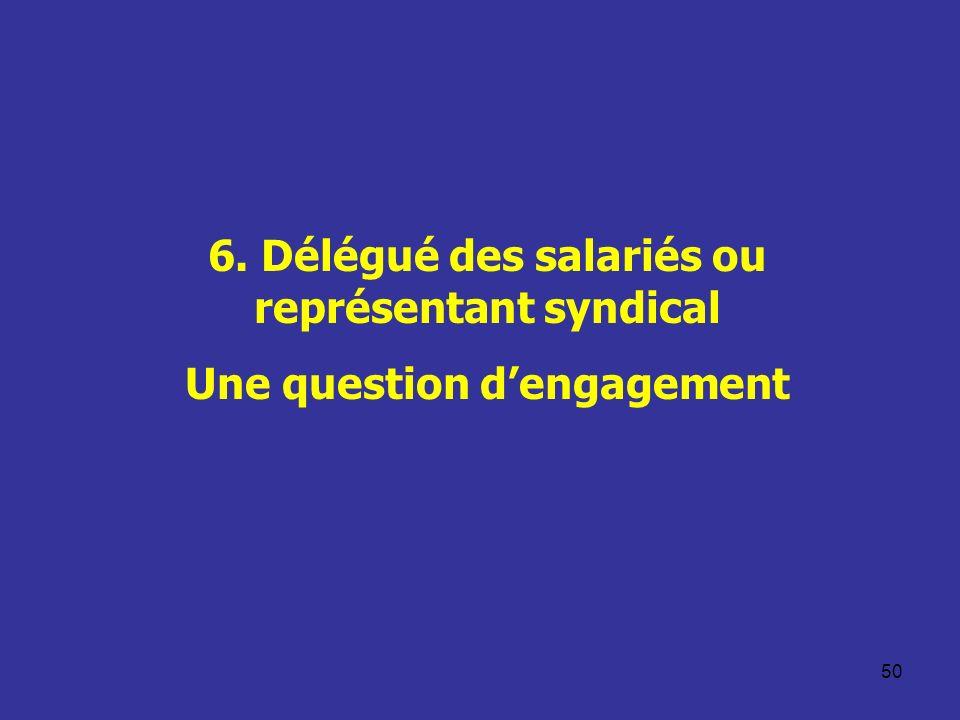 50 6. Délégué des salariés ou représentant syndical Une question dengagement