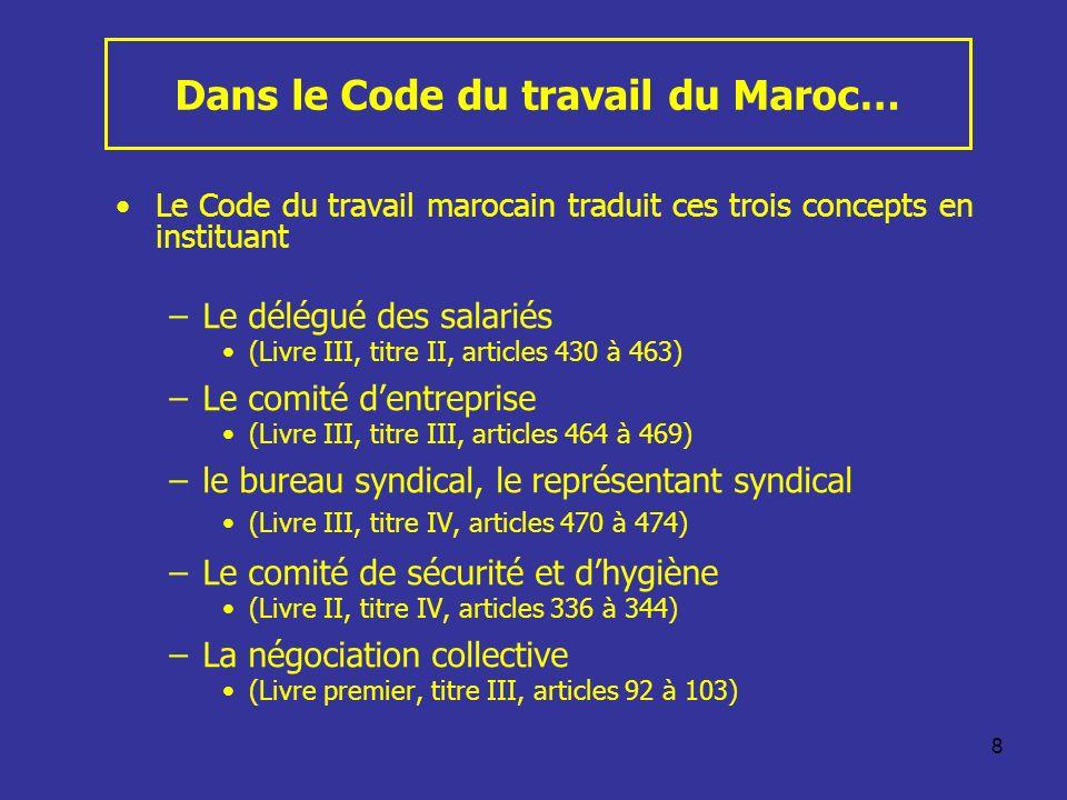 8 Dans le Code du travail du Maroc… Le Code du travail marocain traduit ces trois concepts en instituant –Le délégué des salariés (Livre III, titre II