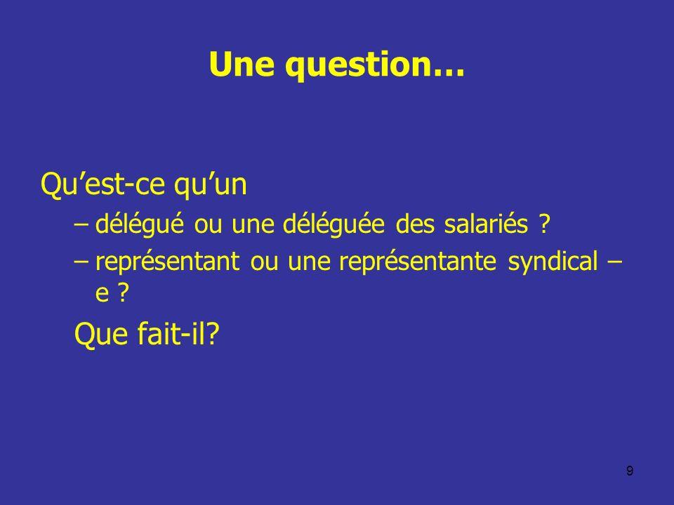 9 Une question… Quest-ce quun –délégué ou une déléguée des salariés ? –représentant ou une représentante syndical – e ? Que fait-il?