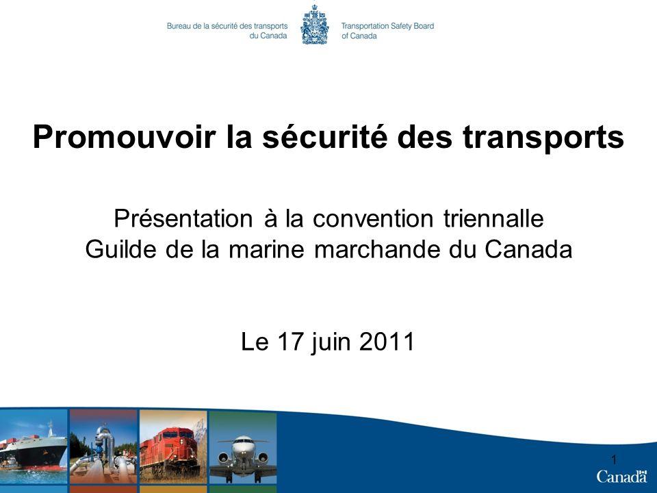 1 Promouvoir la sécurité des transports Présentation à la convention triennalle Guilde de la marine marchande du Canada Le 17 juin 2011