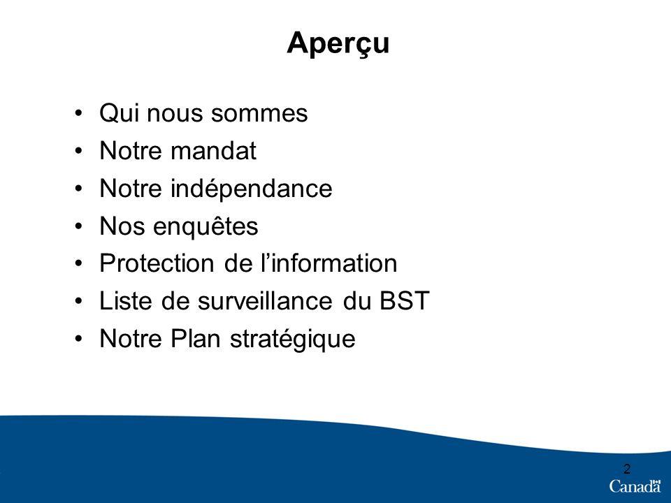2 Aperçu Qui nous sommes Notre mandat Notre indépendance Nos enquêtes Protection de linformation Liste de surveillance du BST Notre Plan stratégique
