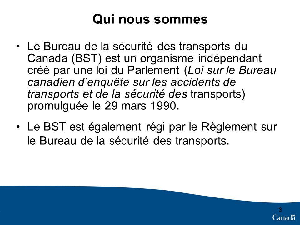 33 Qui nous sommes Le Bureau de la sécurité des transports du Canada (BST) est un organisme indépendant créé par une loi du Parlement (Loi sur le Bureau canadien denquête sur les accidents de transports et de la sécurité des transports) promulguée le 29 mars 1990.