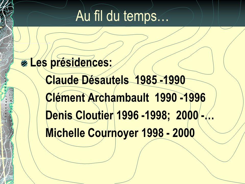 Au fil du temps… Les présidences: Claude Désautels 1985 -1990 Clément Archambault 1990 -1996 Denis Cloutier 1996 -1998; 2000 -… Michelle Cournoyer 1998 - 2000