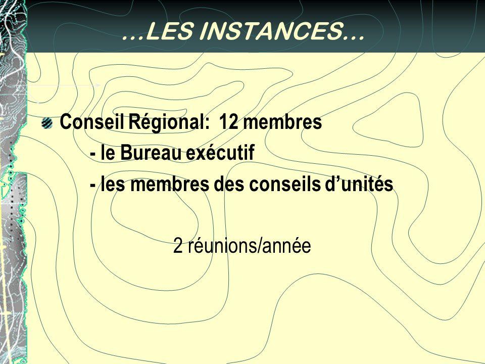 …LES INSTANCES… Conseil Régional: 12 membres - le Bureau exécutif - les membres des conseils dunités 2 réunions/année