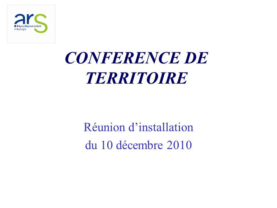 CONFERENCE DE TERRITOIRE Réunion dinstallation du 10 décembre 2010