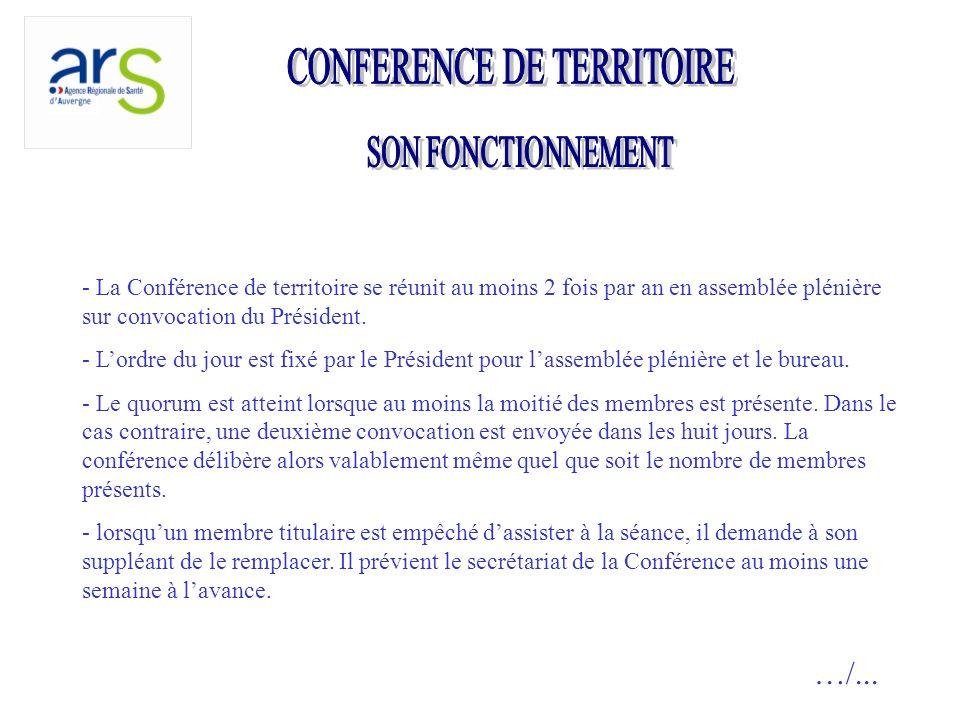 - La Conférence de territoire se réunit au moins 2 fois par an en assemblée plénière sur convocation du Président.