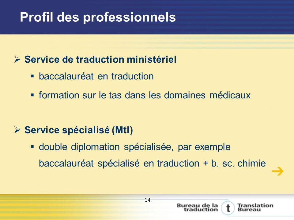 14 Profil des professionnels Service de traduction ministériel baccalauréat en traduction formation sur le tas dans les domaines médicaux Service spécialisé (Mtl) double diplomation spécialisée, par exemple baccalauréat spécialisé en traduction + b.