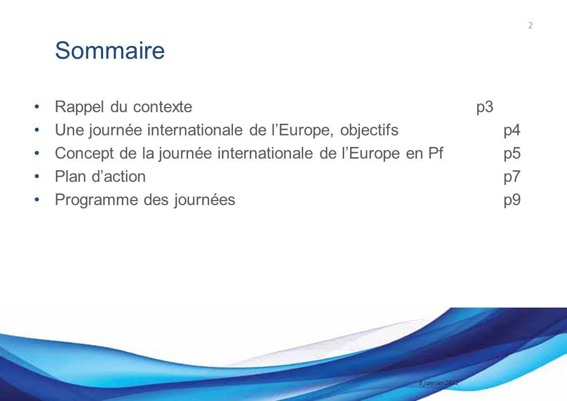 Bureau des Affaires européennes 6 janvier 2012 Sommaire Rappel du contextep3 Une journée internationale de lEurope, objectifsp4 Concept de la journée internationale de lEurope en Pfp5 Plan daction p7 Programme des journéesp9 2