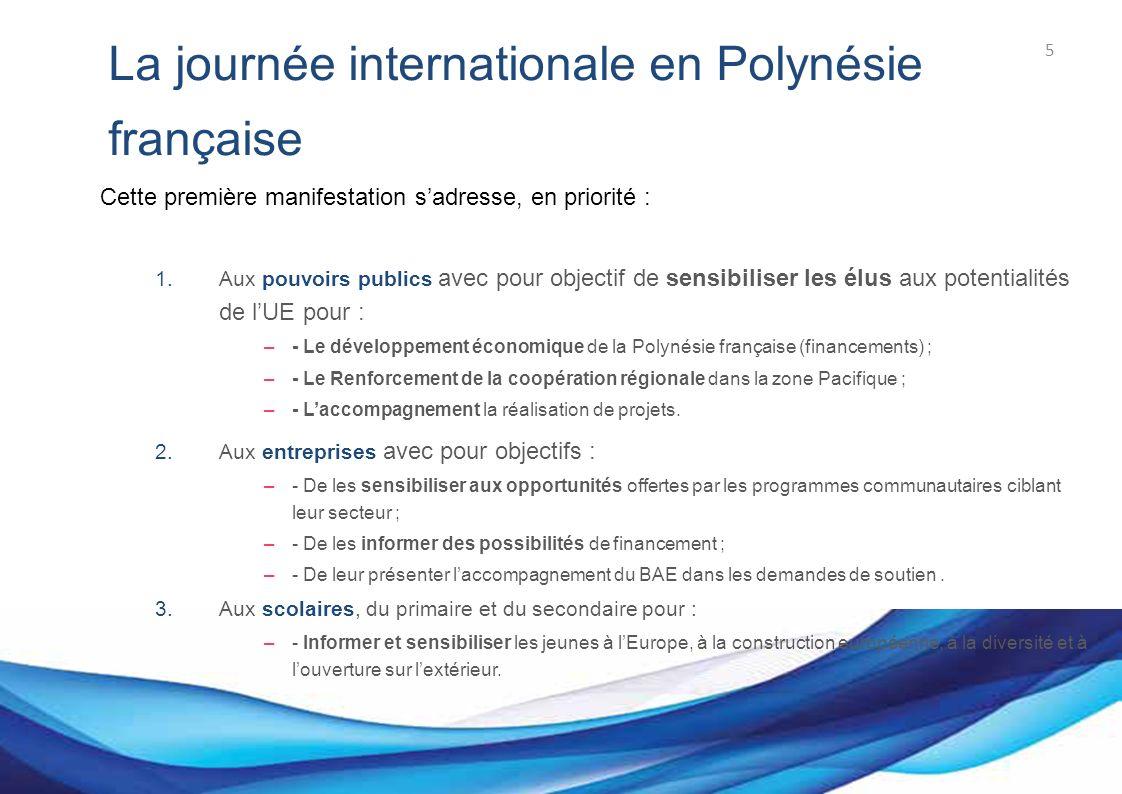 Bureau des Affaires européennes La journée internationale en Polynésie française Cette première manifestation sadresse, en priorité : 1.Aux pouvoirs publics avec pour objectif de sensibiliser les élus aux potentialités de lUE pour : –- Le développement économique de la Polynésie française (financements) ; –- Le Renforcement de la coopération régionale dans la zone Pacifique ; –- Laccompagnement la réalisation de projets.