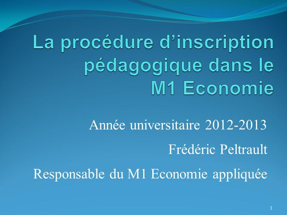 Année universitaire 2012-2013 Frédéric Peltrault Responsable du M1 Economie appliquée 1