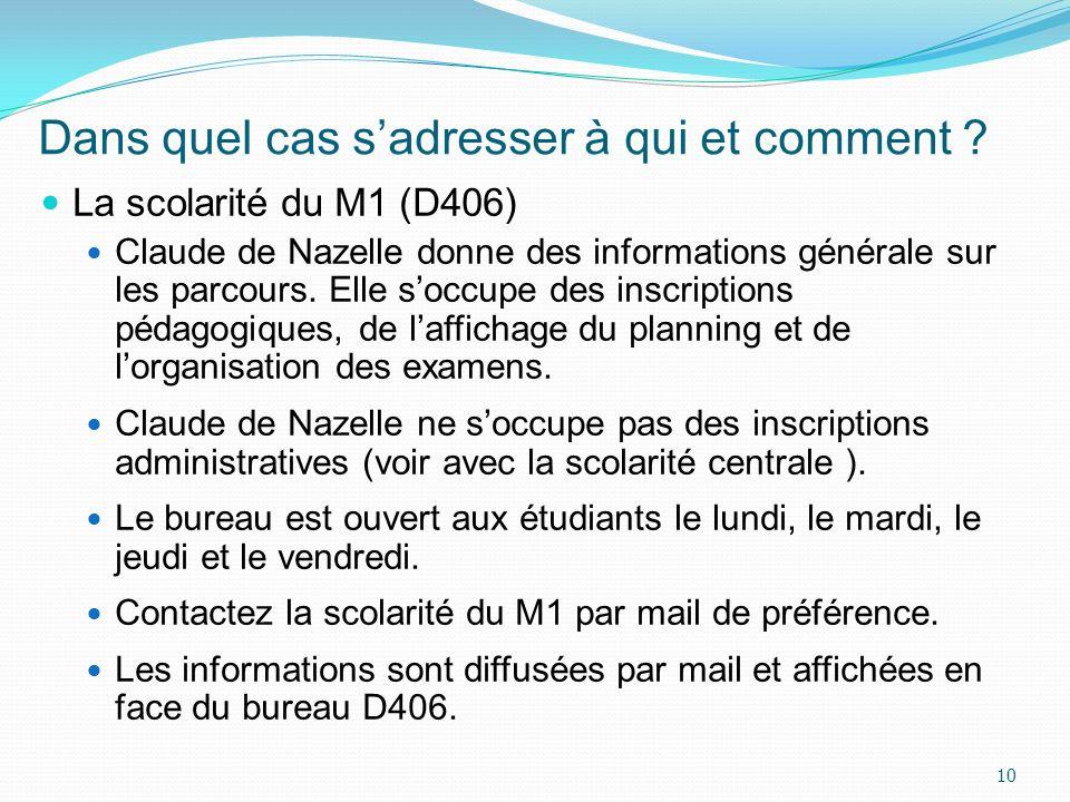 Dans quel cas sadresser à qui et comment ? La scolarité du M1 (D406) Claude de Nazelle donne des informations générale sur les parcours. Elle soccupe