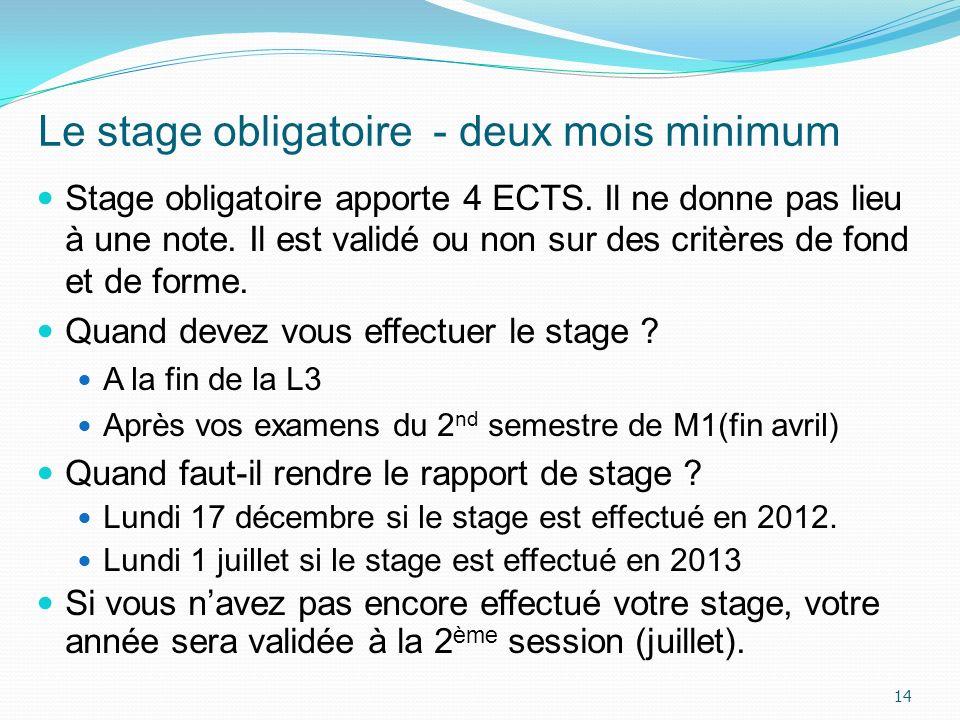 Le stage obligatoire - deux mois minimum Stage obligatoire apporte 4 ECTS. Il ne donne pas lieu à une note. Il est validé ou non sur des critères de f