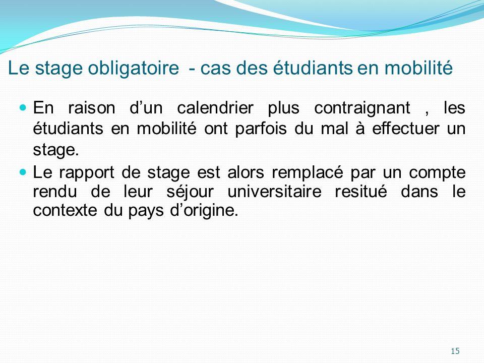 Le stage obligatoire - cas des étudiants en mobilité En raison dun calendrier plus contraignant, les étudiants en mobilité ont parfois du mal à effect