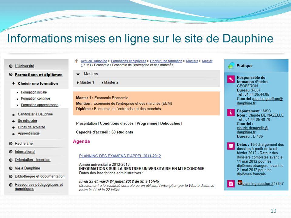 Informations mises en ligne sur le site de Dauphine 23