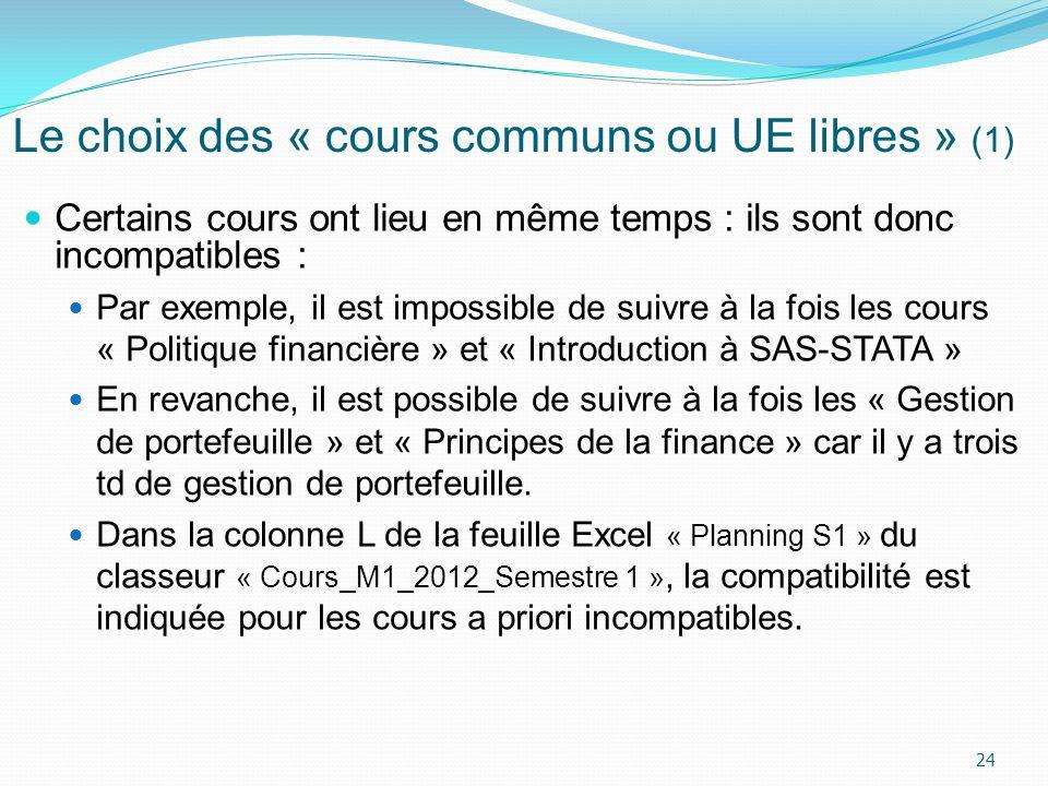 Le choix des « cours communs ou UE libres » (1) Certains cours ont lieu en même temps : ils sont donc incompatibles : Par exemple, il est impossible d