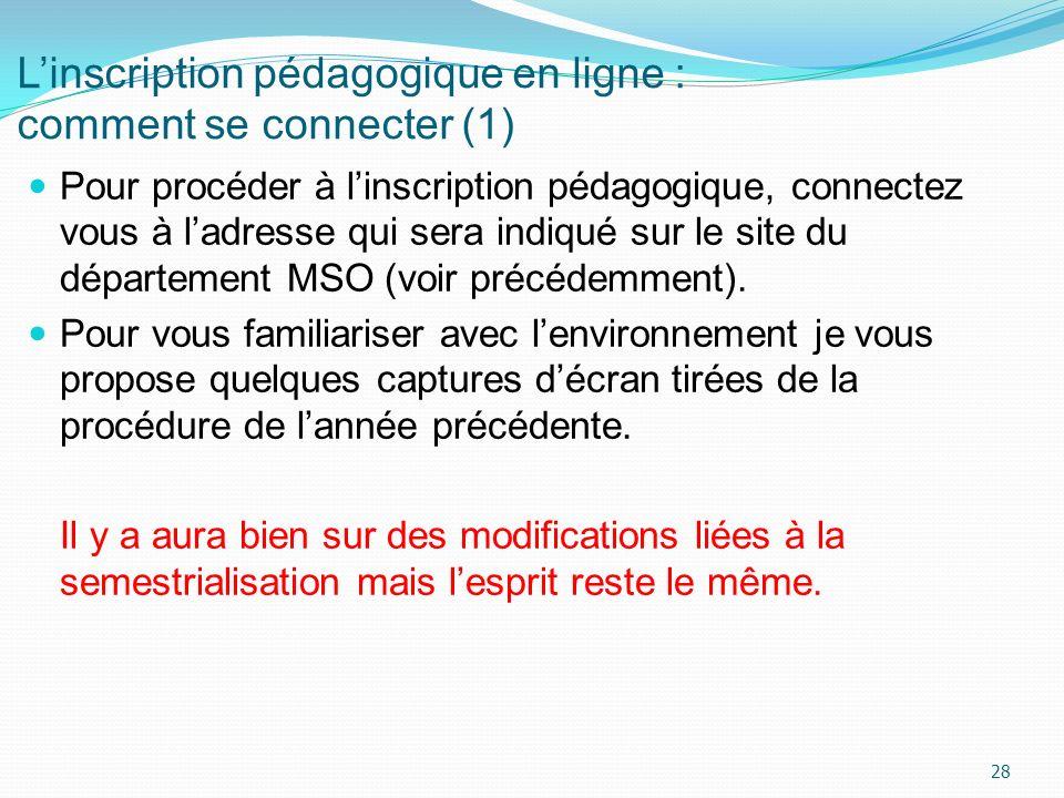 Linscription pédagogique en ligne : comment se connecter (1) Pour procéder à linscription pédagogique, connectez vous à ladresse qui sera indiqué sur