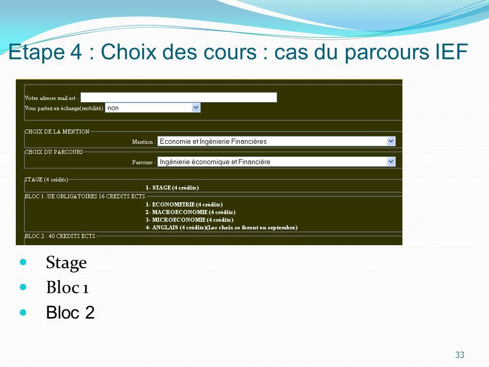 Etape 4 : Choix des cours : cas du parcours IEF Stage Bloc 1 Bloc 2 33