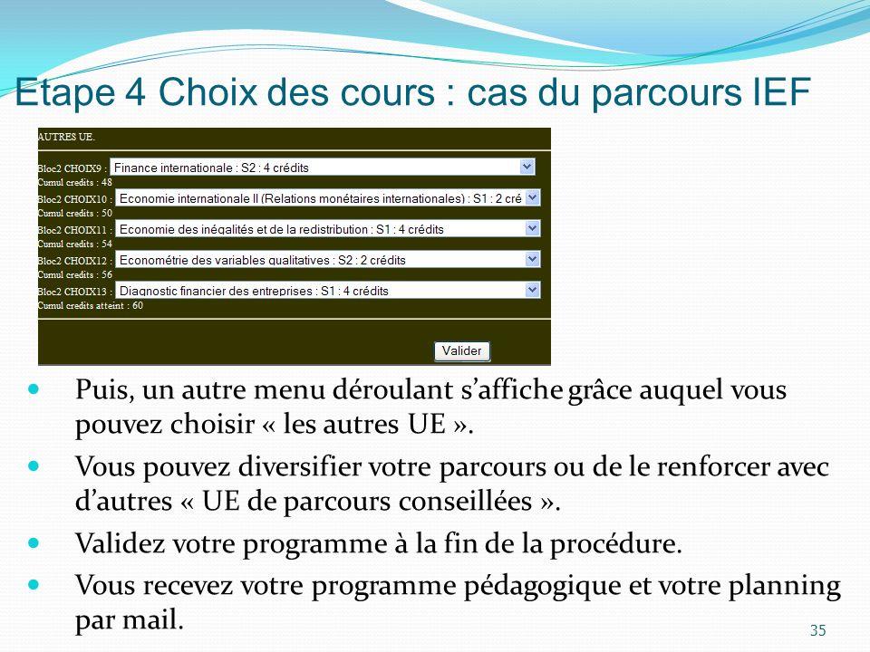 Etape 4 Choix des cours : cas du parcours IEF Puis, un autre menu déroulant saffiche grâce auquel vous pouvez choisir « les autres UE ». Vous pouvez d