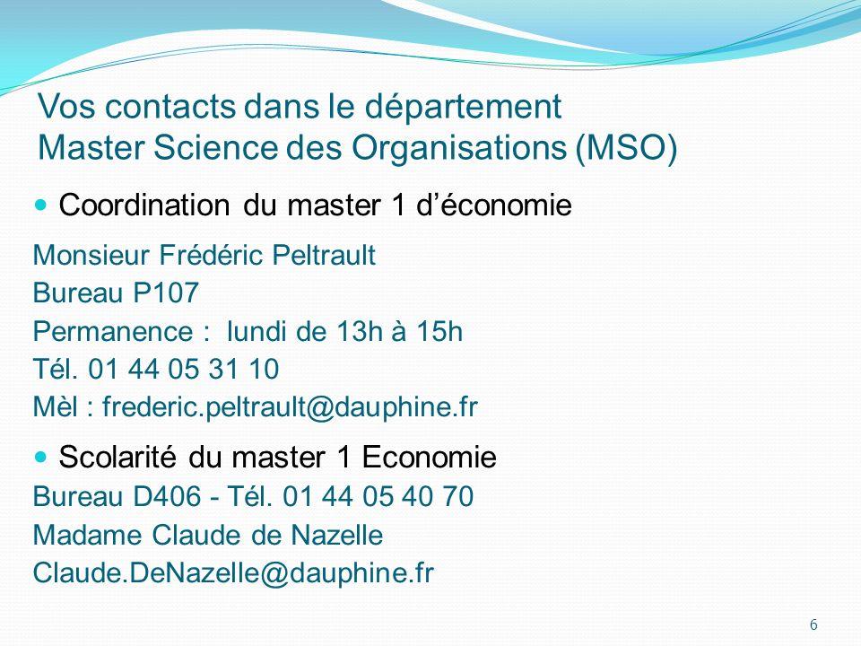 Vos contacts dans le département Master Science des Organisations (MSO) Coordination du master 1 déconomie Monsieur Frédéric Peltrault Bureau P107 Per