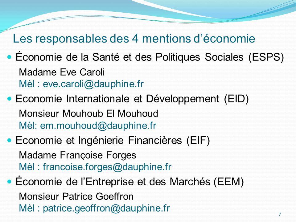 Les responsables des 4 mentions déconomie Économie de la Santé et des Politiques Sociales (ESPS) Madame Eve Caroli Mèl : eve.caroli@dauphine.fr Econom