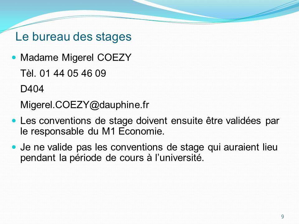 Le bureau des stages Madame Migerel COEZY Tèl. 01 44 05 46 09 D404 Migerel.COEZY@dauphine.fr Les conventions de stage doivent ensuite être validées pa