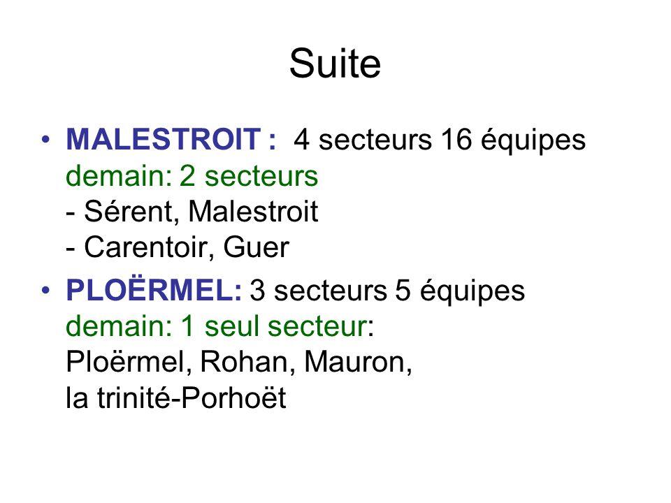 Suite PONTIVY-LE FAOUËT: 5 secteurs, 11 équipes Demain: 2 ou 3 secteurs - Pontivy, Noyal-Pontivy et Cléguérec - Gourin, Le Faouët, Guéméné/Scorff.