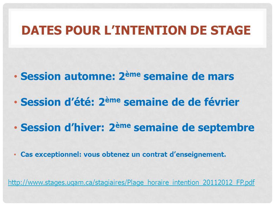 DATES POUR LINTENTION DE STAGE Session automne: 2 ème semaine de mars Session dété: 2 ème semaine de de février Session dhiver: 2 ème semaine de septe