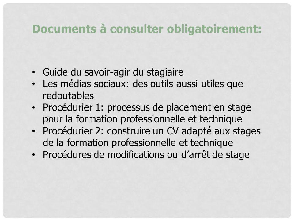 Documents à consulter obligatoirement: Guide du savoir-agir du stagiaire Les médias sociaux: des outils aussi utiles que redoutables Procédurier 1: pr