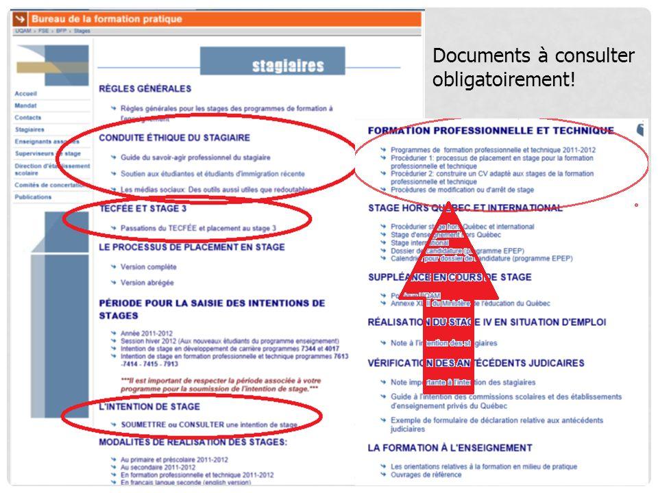 Documents à consulter obligatoirement!