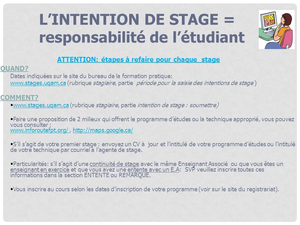 LINTENTION DE STAGE = responsabilité de létudiant ATTENTION: étapes à refaire pour chaque stage QUAND? Dates indiquées sur le site du bureau de la for