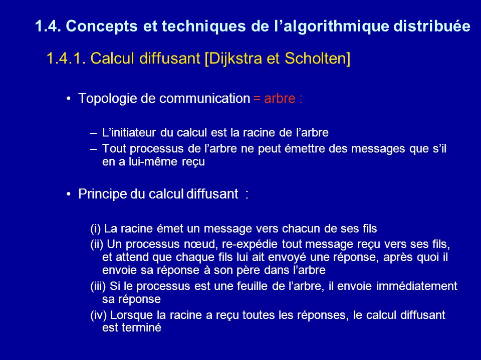 1.4. Concepts et techniques de lalgorithmique distribuée 1.4.1. Calcul diffusant [Dijkstra et Scholten] Topologie de communication = arbre : –Linitiat