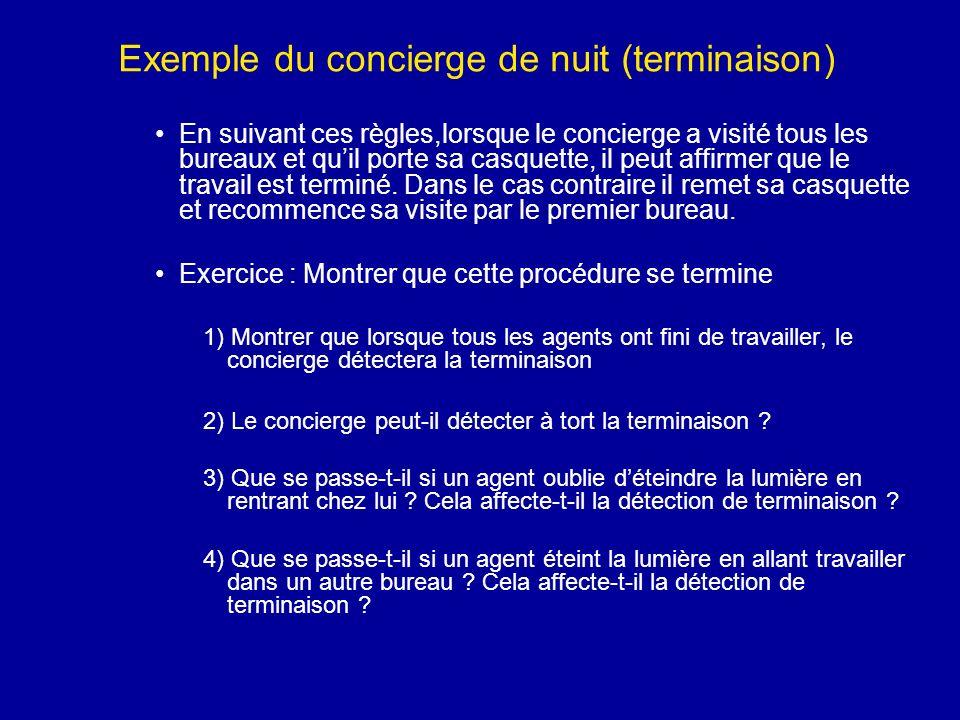 Exemple du concierge de nuit (terminaison) En suivant ces règles,lorsque le concierge a visité tous les bureaux et quil porte sa casquette, il peut af
