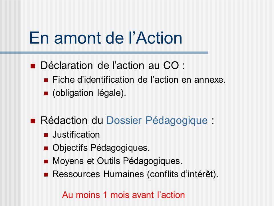 En amont de lAction Déclaration de laction au CO : Fiche didentification de laction en annexe. (obligation légale). Rédaction du Dossier Pédagogique :