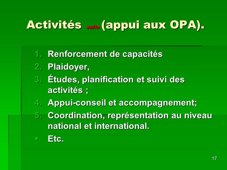 17 Activités suite (appui aux OPA).