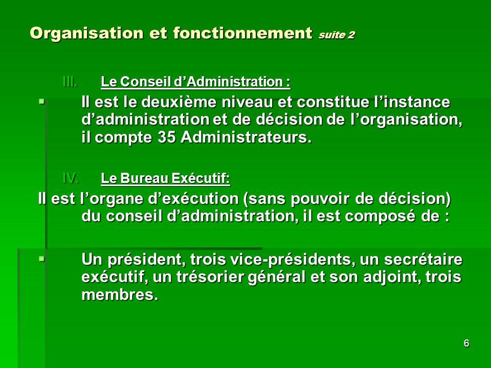 6 Organisation et fonctionnement suite 2 III.Le Conseil dAdministration : Il est le deuxième niveau et constitue linstance dadministration et de décision de lorganisation, il compte 35 Administrateurs.