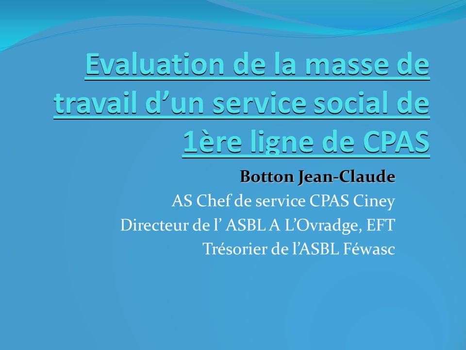 Evaluation de la masse de travail dun service social de 1ère ligne de CPAS Botton Jean-Claude AS Chef de service CPAS Ciney Directeur de l ASBL A LOvr