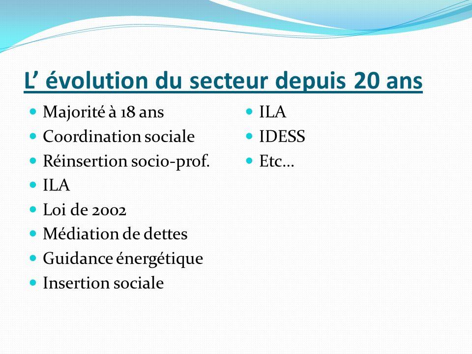 L évolution du secteur depuis 20 ans Majorité à 18 ans Coordination sociale Réinsertion socio-prof. ILA Loi de 2002 Médiation de dettes Guidance énerg