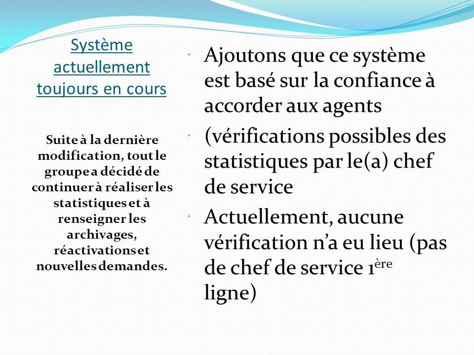 Système actuellement toujours en cours Ajoutons que ce système est basé sur la confiance à accorder aux agents (vérifications possibles des statistiqu